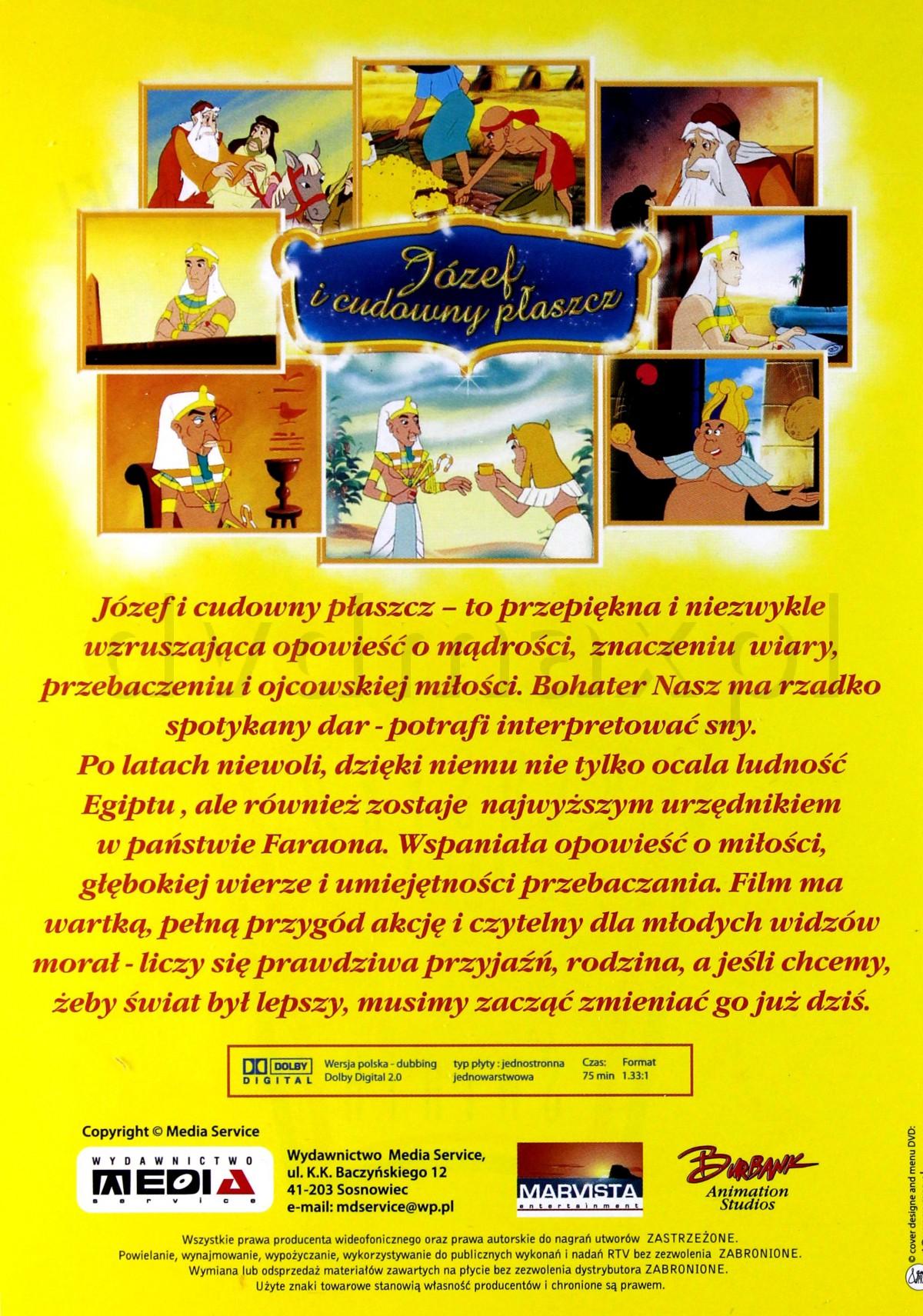 FILM DVD JÓZEF I CUDOWNY PŁASZCZ bajka DUBBING PL